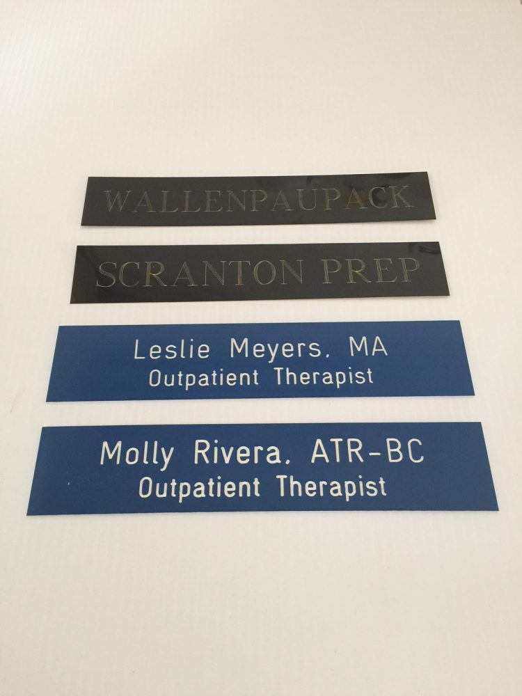 Custom name plates metal or plastic